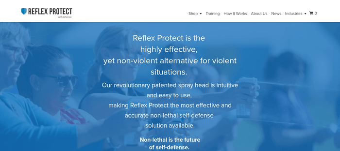 screenshot of the affiliate sign up page for Reflex Protect