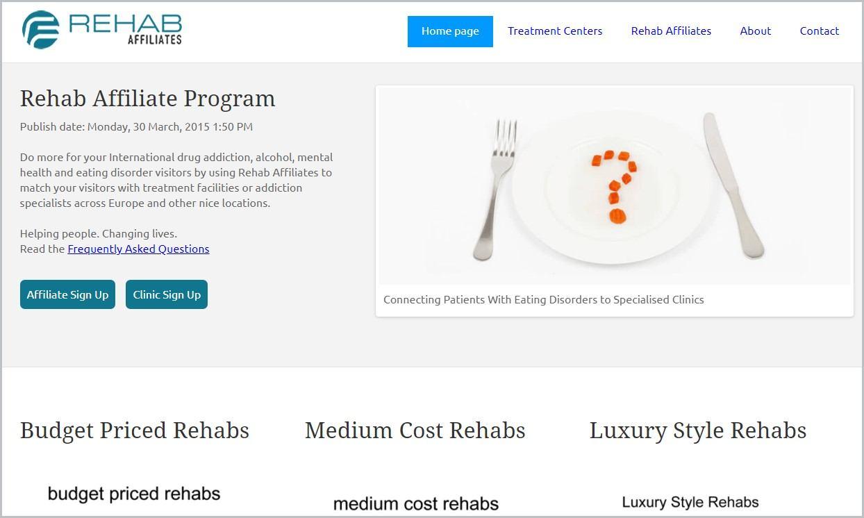 screenshot of Rehab Affiliates homepage