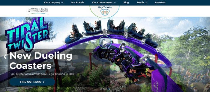 screenshot of the affiliate sign up page for SeaWorld Parks