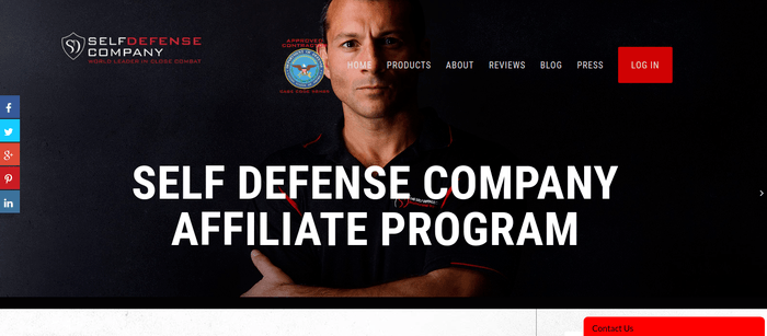 screenshot of the affiliate sign up page for Self Defense Company
