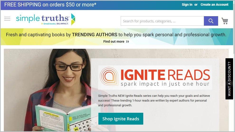 screenshot of Simple Truths homepage