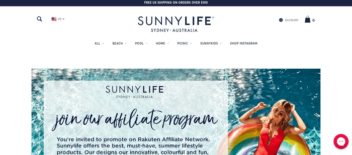screenshot of the affiliate sign up page for Sunnylife