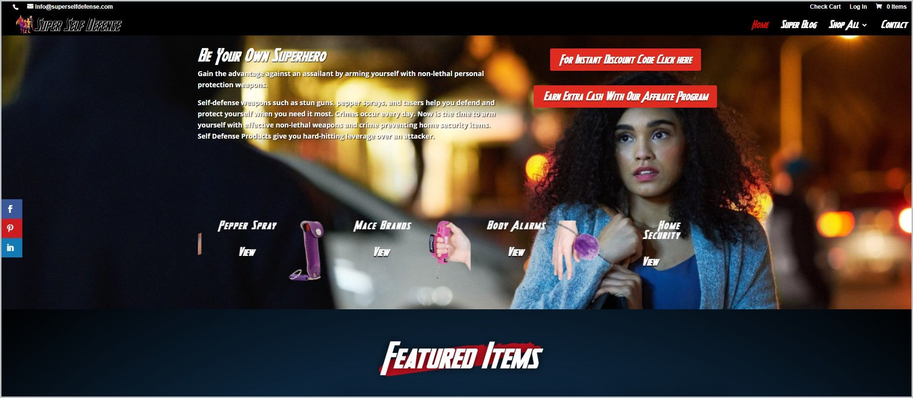 screenshot of Super Self Defense homepage, with black header with the website's name and main navigation menu, with a picture of a woman on a street holding on to her bag looking straight ahead