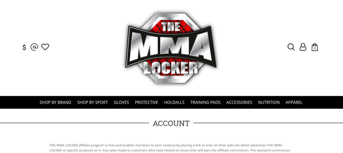 screenshot of the affiliate sign up page for The MMA Locker