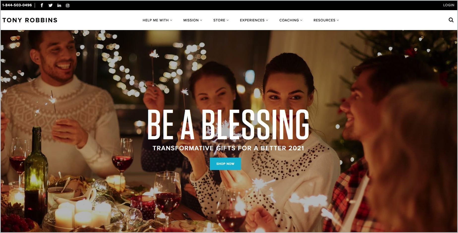 screenshot of Tony Robbins homepage