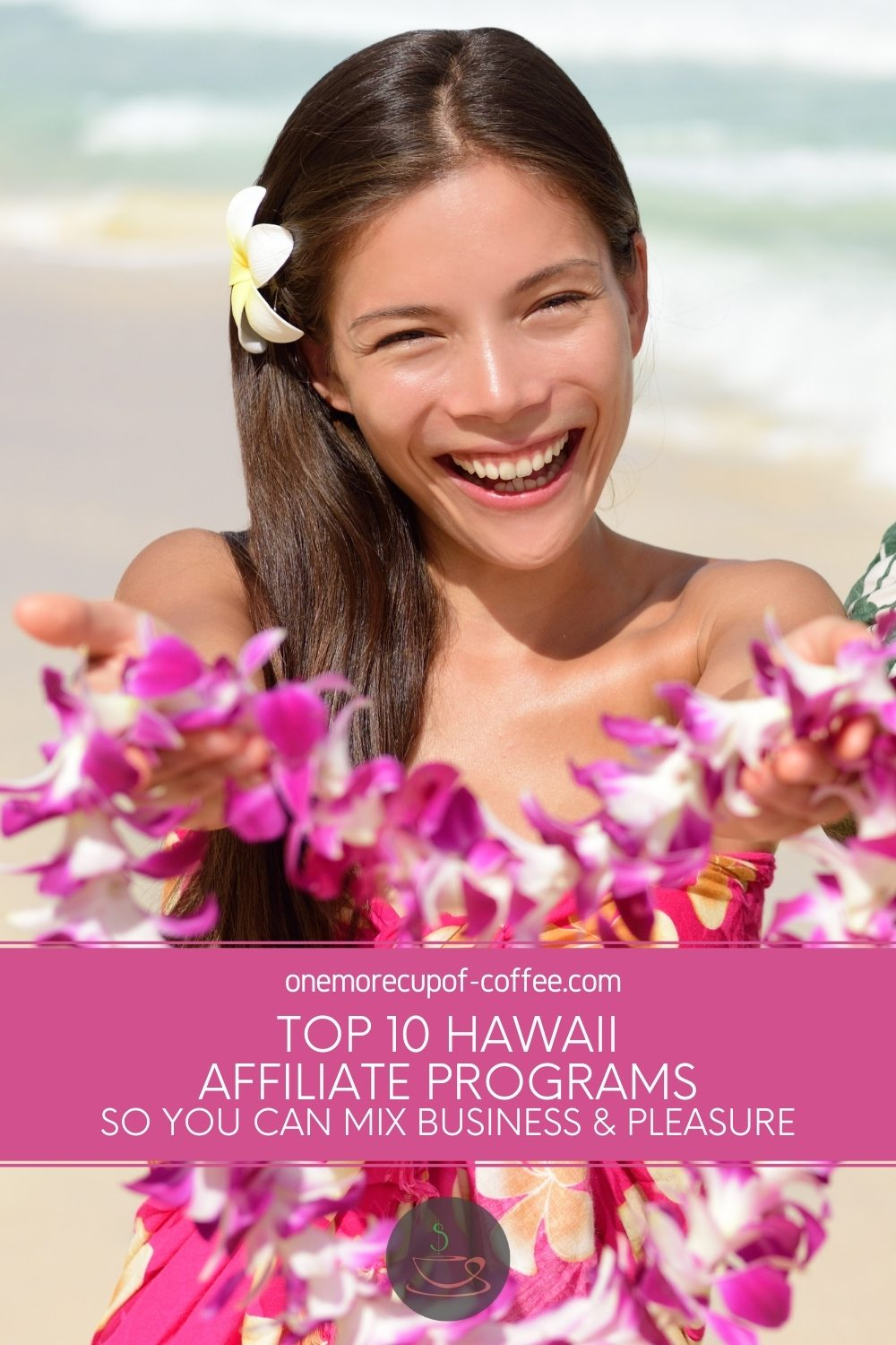 Hawaiian girl holding out a pink garland, with text overlay
