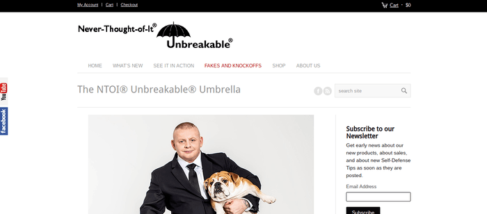 screenshot of the affiliate sign up page for Unbreakable Umbrella