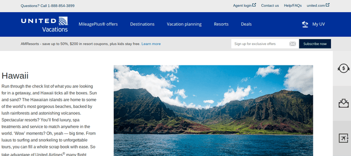 screenshot of the affiliate sign up page for United Vacations