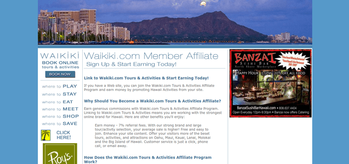 screenshot of the affiliate sign up page for Waikiki.com