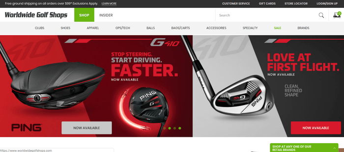 screenshot of the affiliate sign up page for Worldwide Golf Shops