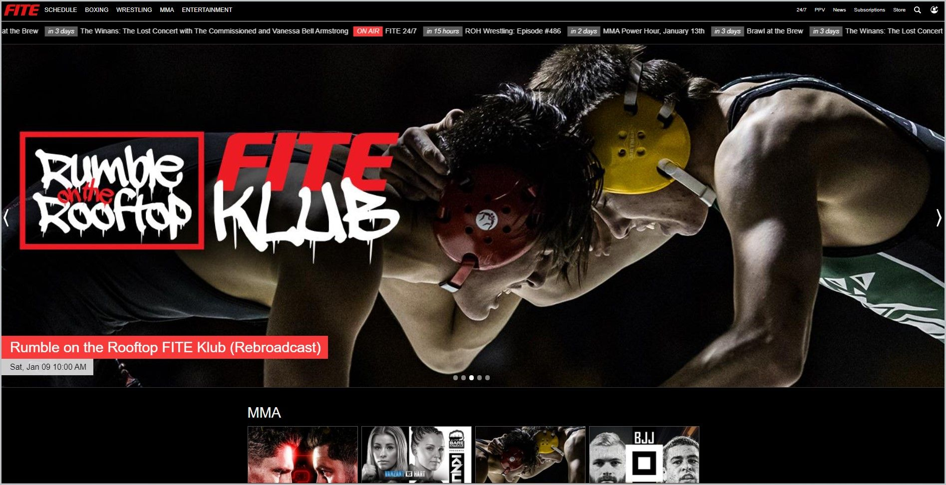 screenshot of Fite.tv MMA page