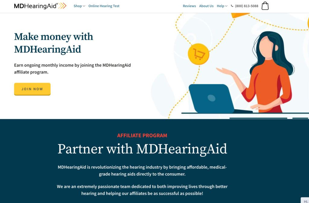 md hearing aid affiliate signup page