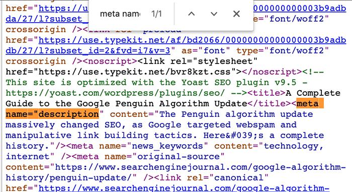 Meta description in the page source
