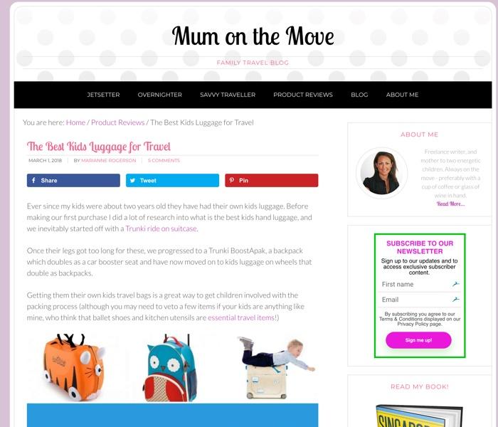 screenshot of website in the kids travel affiliate niche
