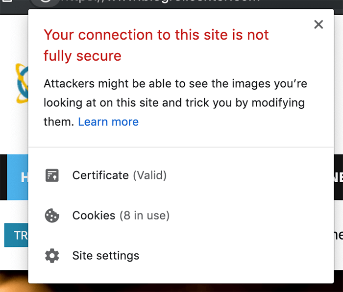 Non-secure website warning on Chrome browser