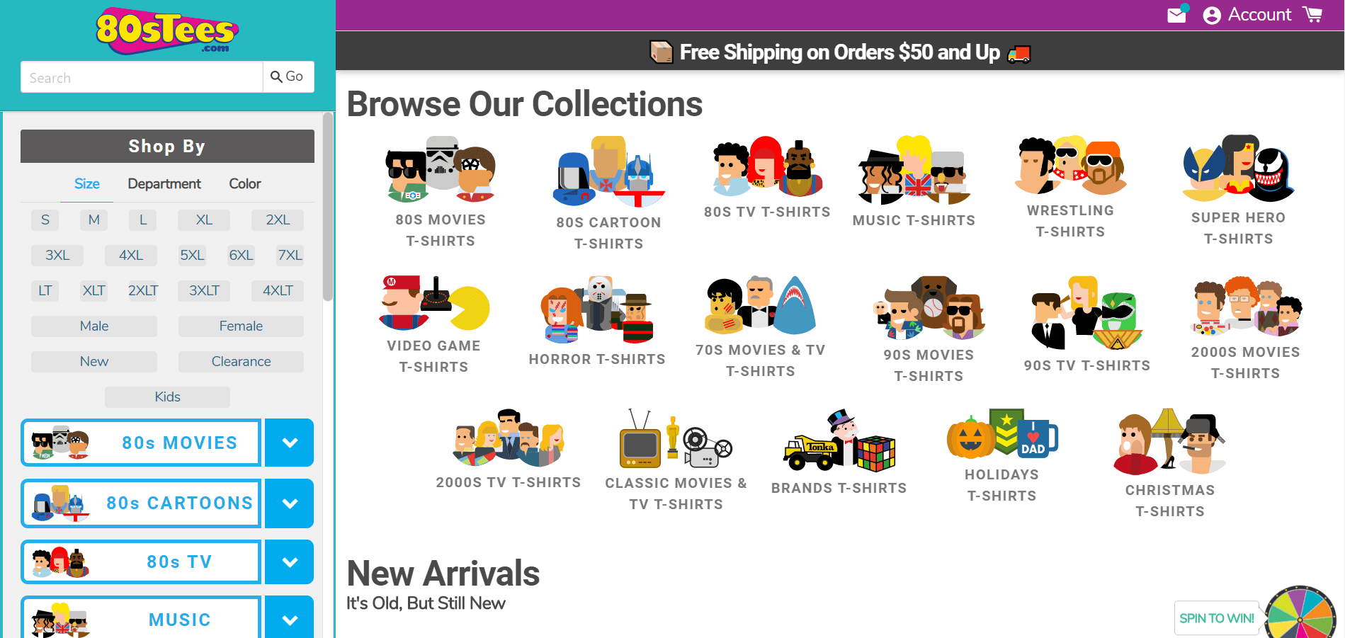 This screenshot from 80s Tees shows fun icons that shoppers can use to filter their searches for tee shirts inspired by the 1980s.