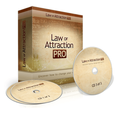 This picture shows a set of CDs containing the Law of Attraction Pro course.