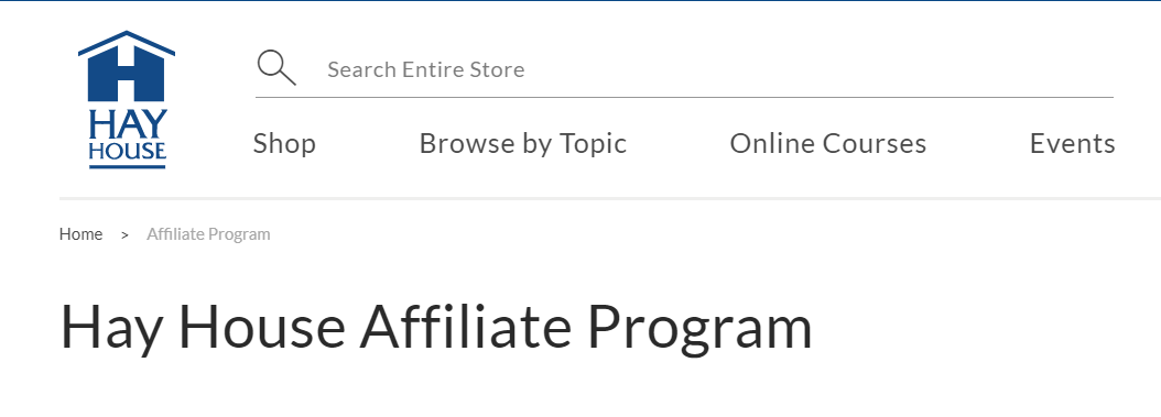 This screen shot shows part of the webpage for the Hay House affiliate program.