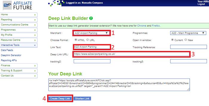 Affiliate Future Merchant Deep Link Builder