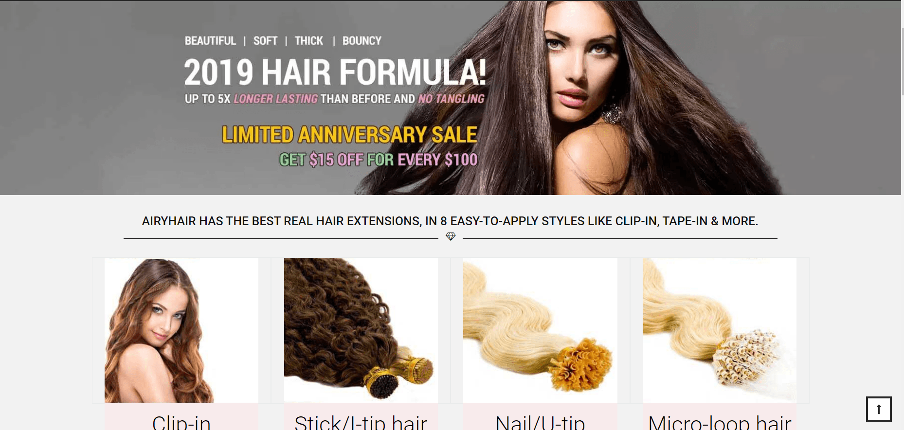 This screenshot shows some hair extension purchase options from AiryHair, a hair extension company with one of the ten best hair extension affiliate programs.