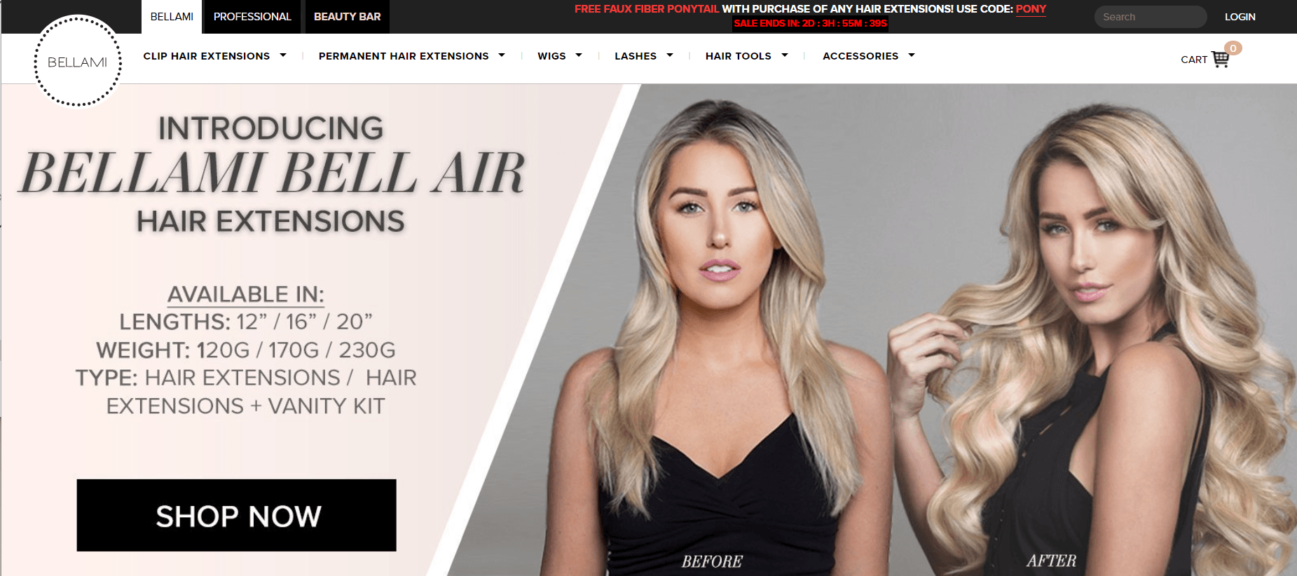 This screenshot from the Bellami Hair website shows before and after images of a woman with hair extensions.
