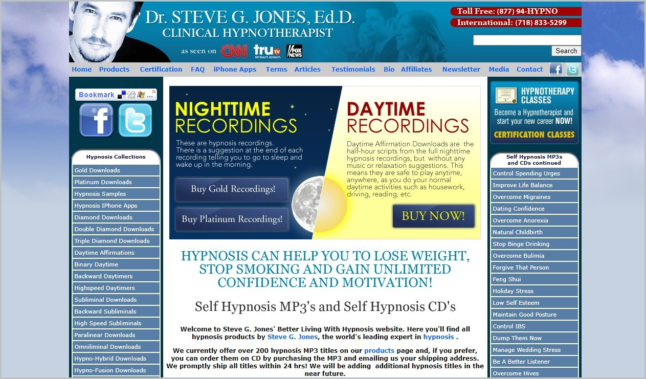 screenshot of BetterLivingWithHypnosis.com homepage