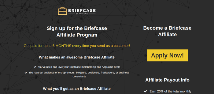 screenshot of the affiliate sign up page for BriefcaseHQ