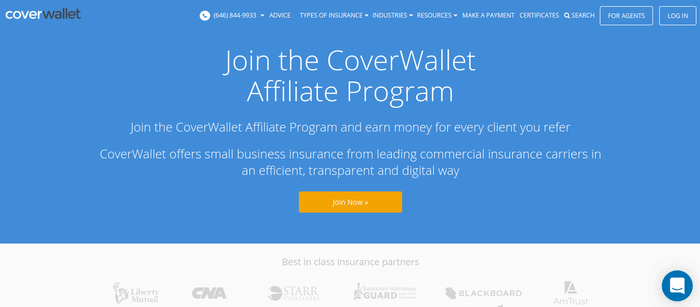 screenshot of the affiliate sign up page for CoverWallet