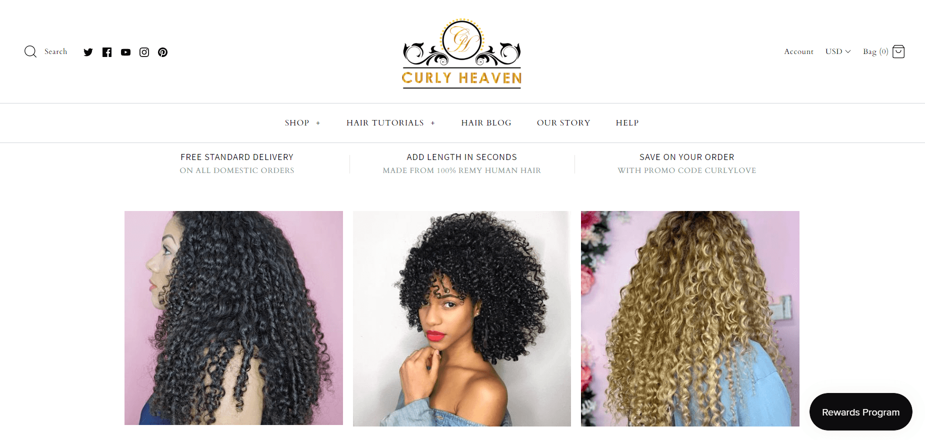This screenshot from Curly Heaven shows headshots of three different women with varying lengths and colors of curly hair extensions.