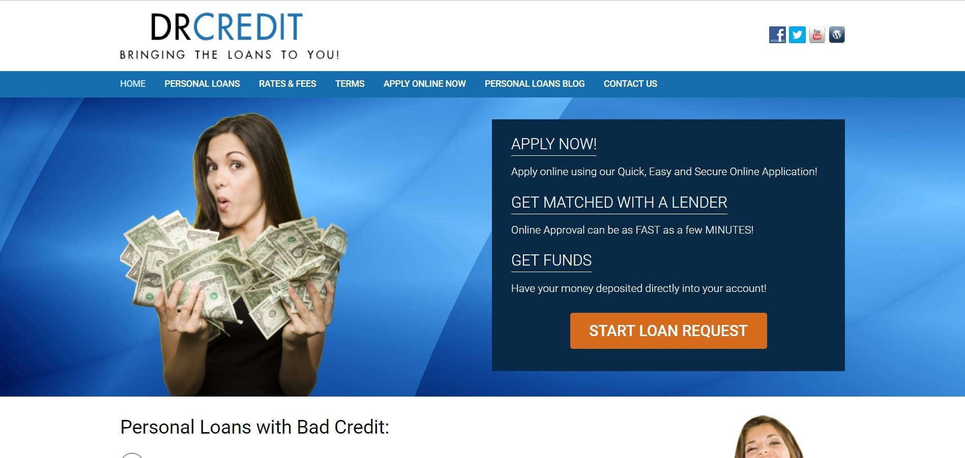 this screenshot has a blue background, a dark blue text box with an orange call to action button, and the image of a woman holding cash in both hands.