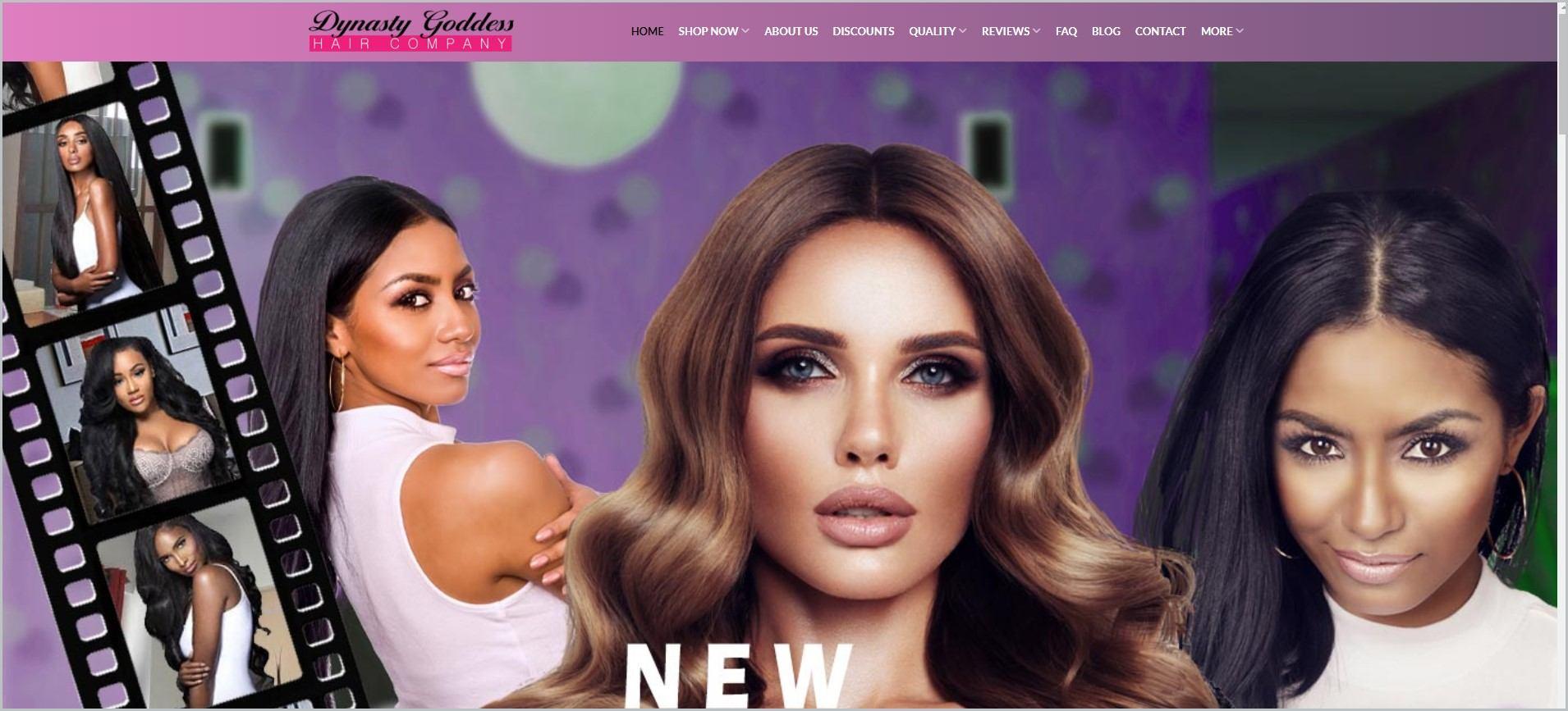 screenshot of Dynasty Goddess homepage,
