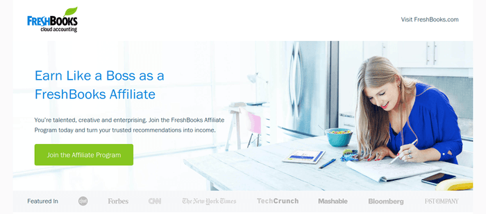screenshot of the affiliate sign up page for FreshBooks