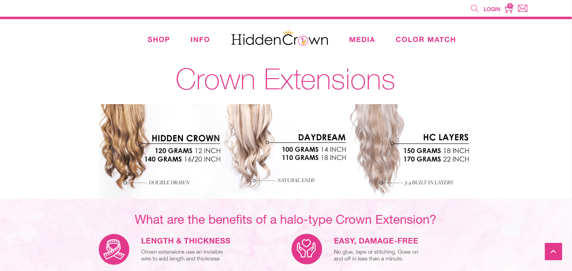 This screenshot shows three different options for halo-shaped crown extensions from Hidden Crown, a hair extension company that has one of the ten best hair extension affiliate programs.