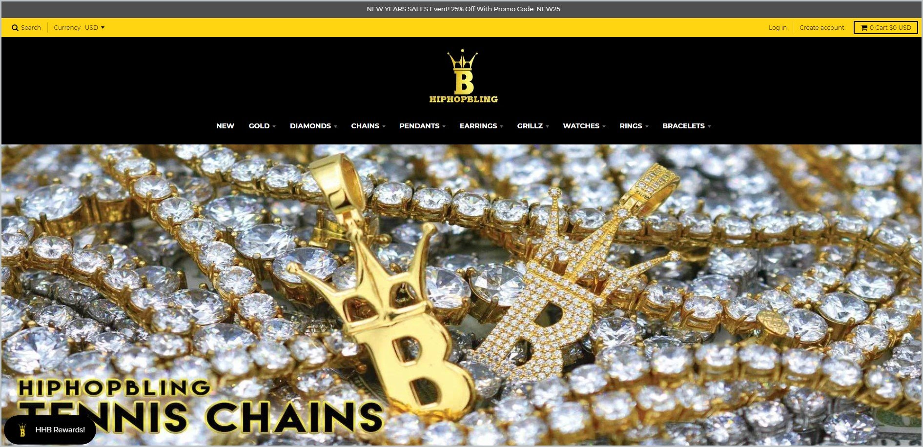 screenshot of HipHopBling homepage with black header with the website's name and main navigation menu, with diamonds-laden chain and a couple of letter B gold pendant