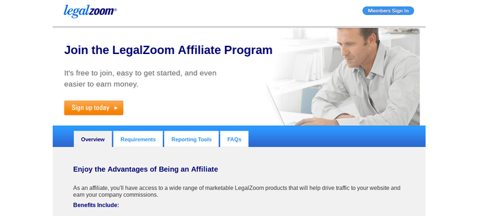 screenshot of the affiliate sign up page for LegalZoom