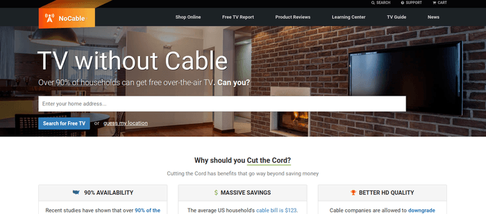 screenshot of the affiliate sign up page for NoCable