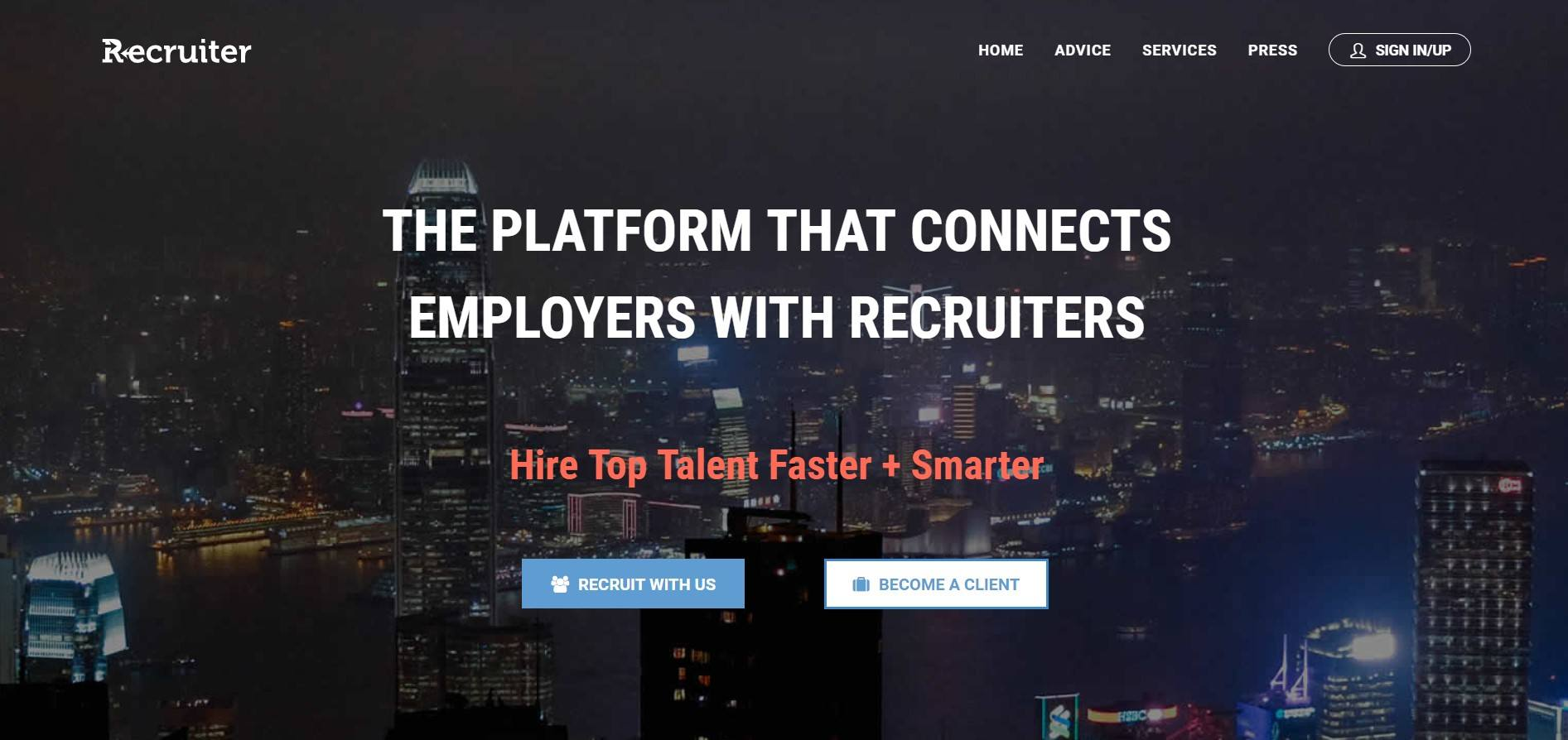 This landing page for Recruiter shows mostly white text on a dark background containing a dim cityscape.