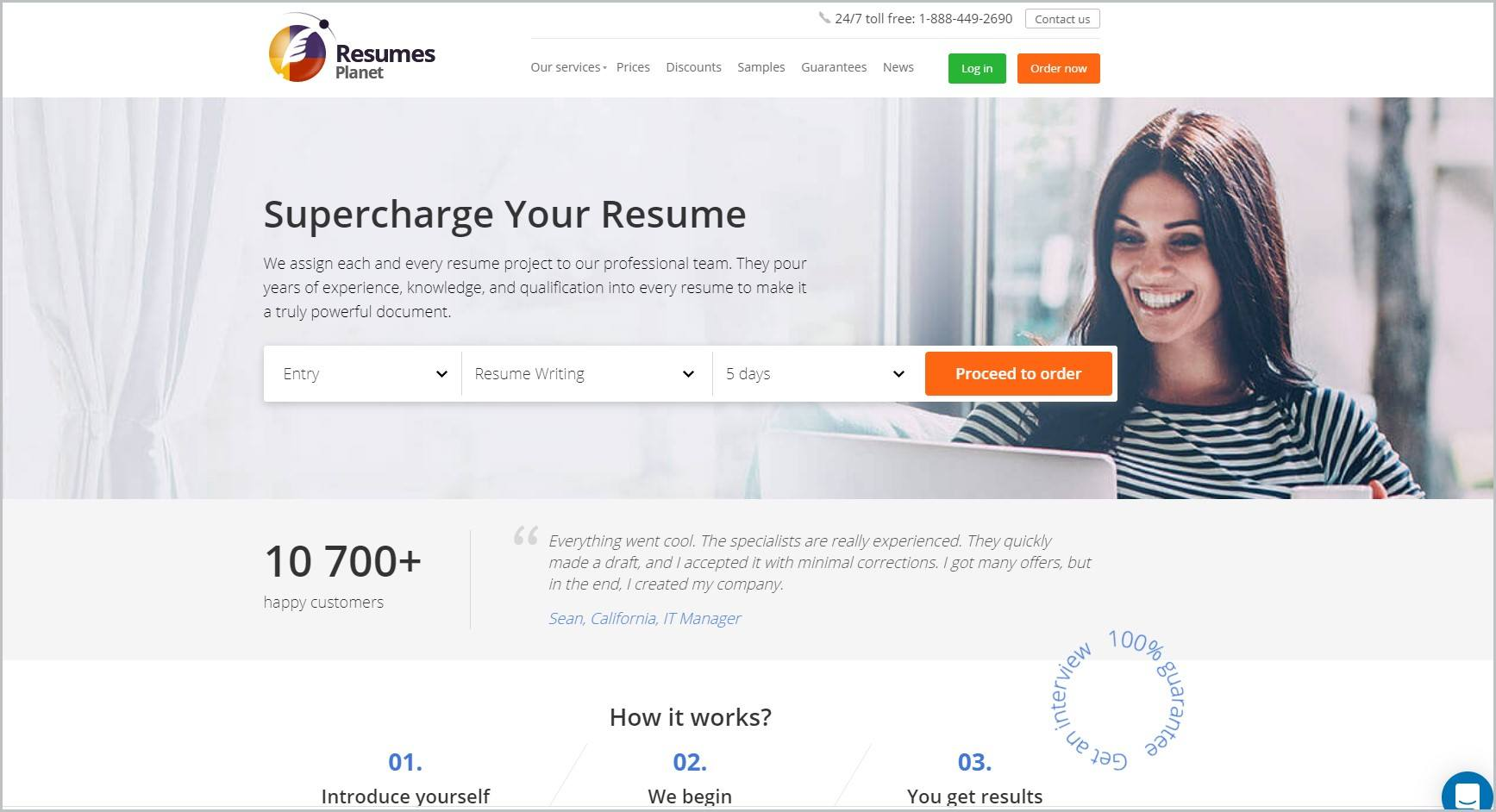 screenshot of Resumes Planet homepage