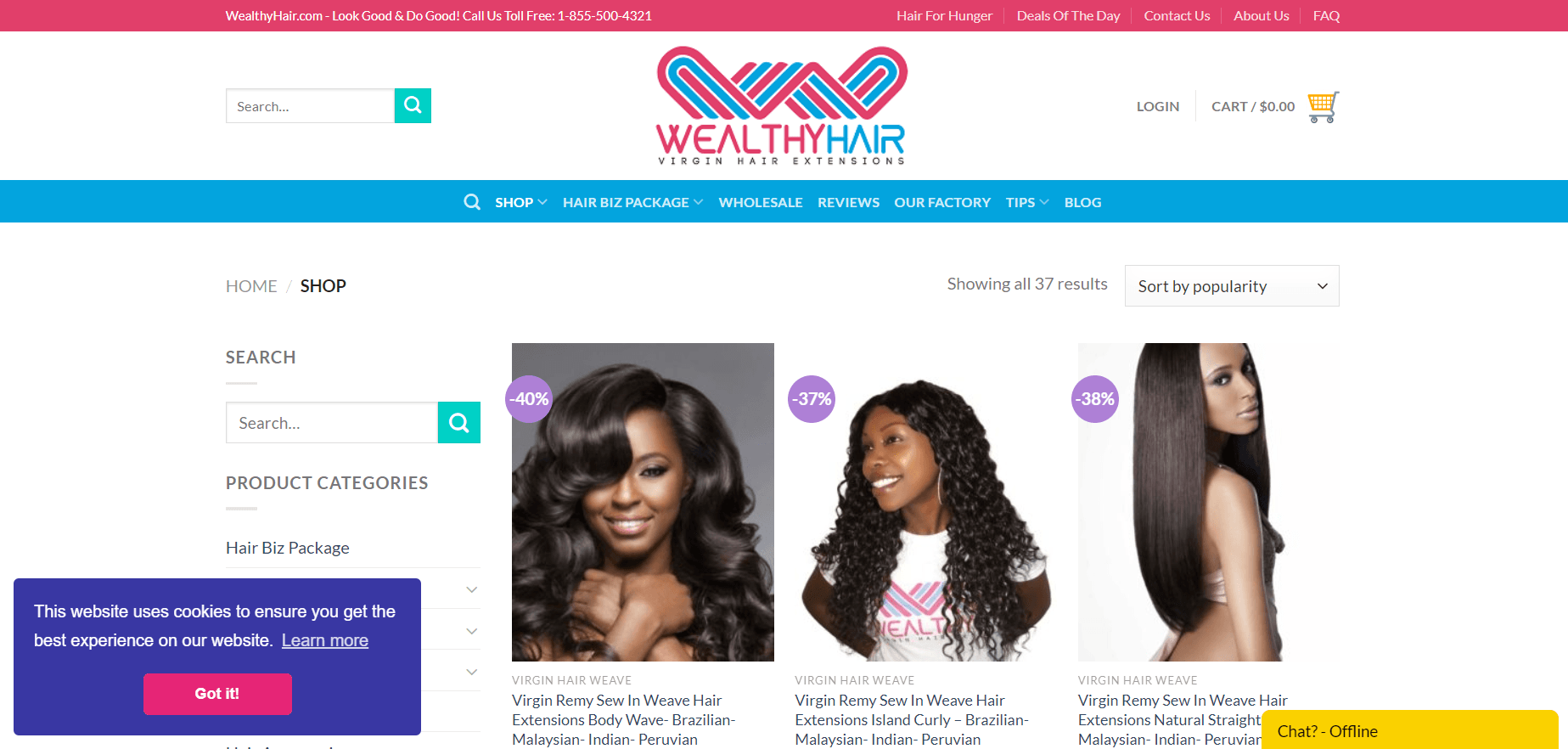 This screenshot from Wealthy Hair shows three different textures of hair extensions: a light wave, kinky-curly, and straight, all in the color black.