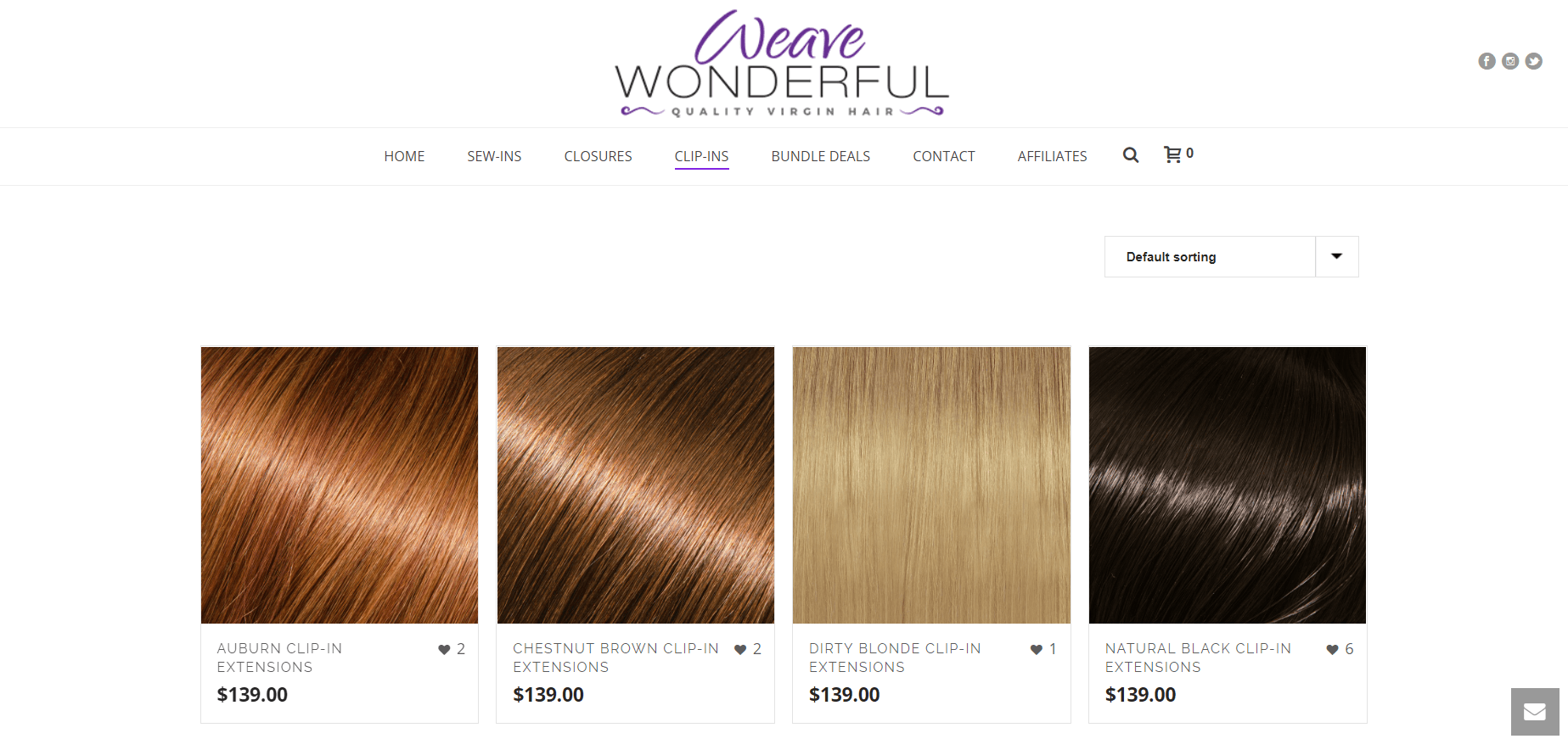 This screenshot of the Weave Wonderful website shows side-by-side photos of hair extensions in different colors, including auburn, brunette, blonde and black.