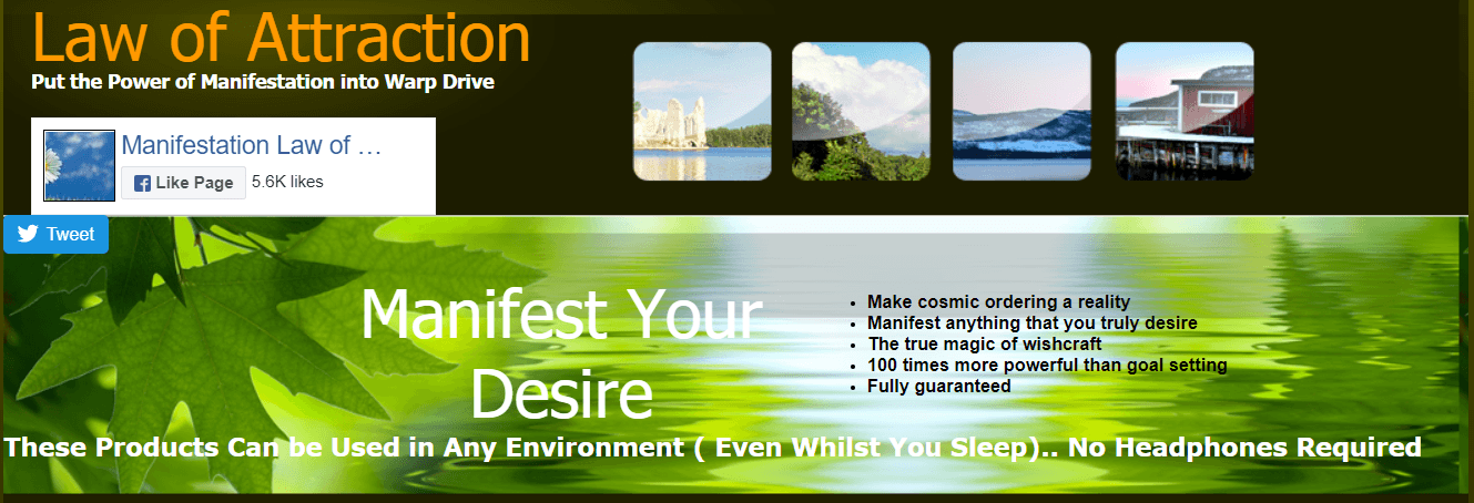 This screenshot contains the words 'Manifest Your Desire' along with thumbnail photos of some possible wishes and a bullet-point list of how these products can help people make the most of the Law of Attraction.