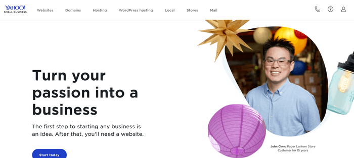 screenshot of the affiliate sign up page for Yahoo Small Business