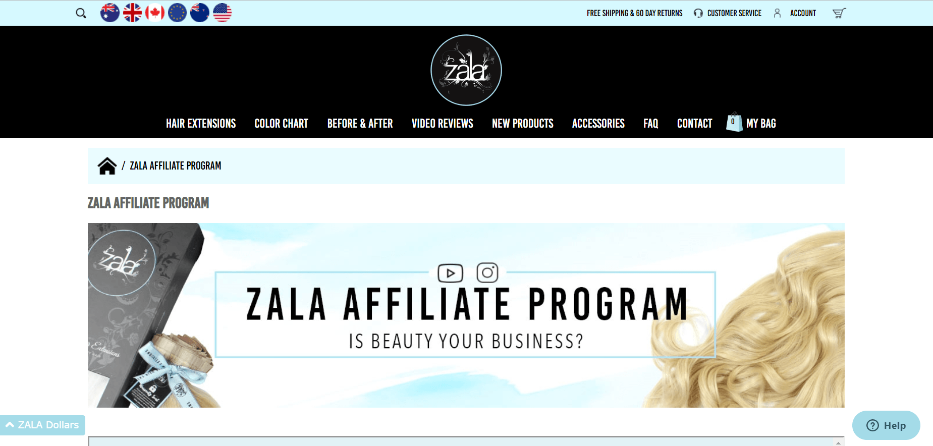This is a screenshot of the Zala Affiliate Program landing page, with no large images, but black lettering on a light blue and white background.