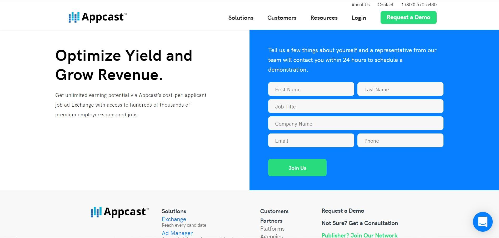 This screenshot shows a landing page with a white background, black text and a blue call-to-action box with green buttons.