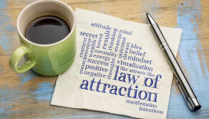A cup of coffee in a green mug sits on the edge of a paper filled with words describing the law of attraction, representing the best law of attraction affiliate programs.