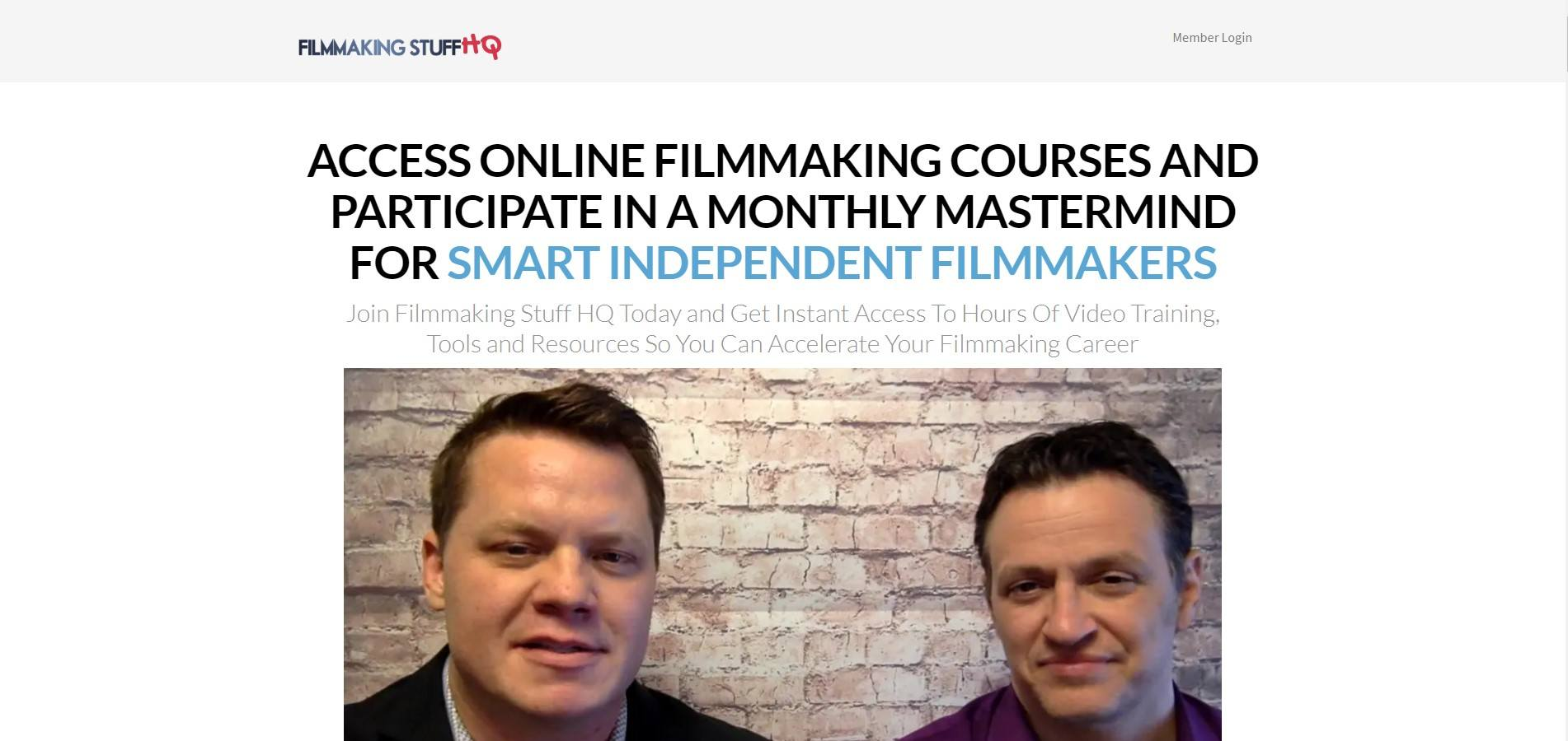 This screenshot has a photo of two men who are involved in most of the Filmmaking Stuff projects.