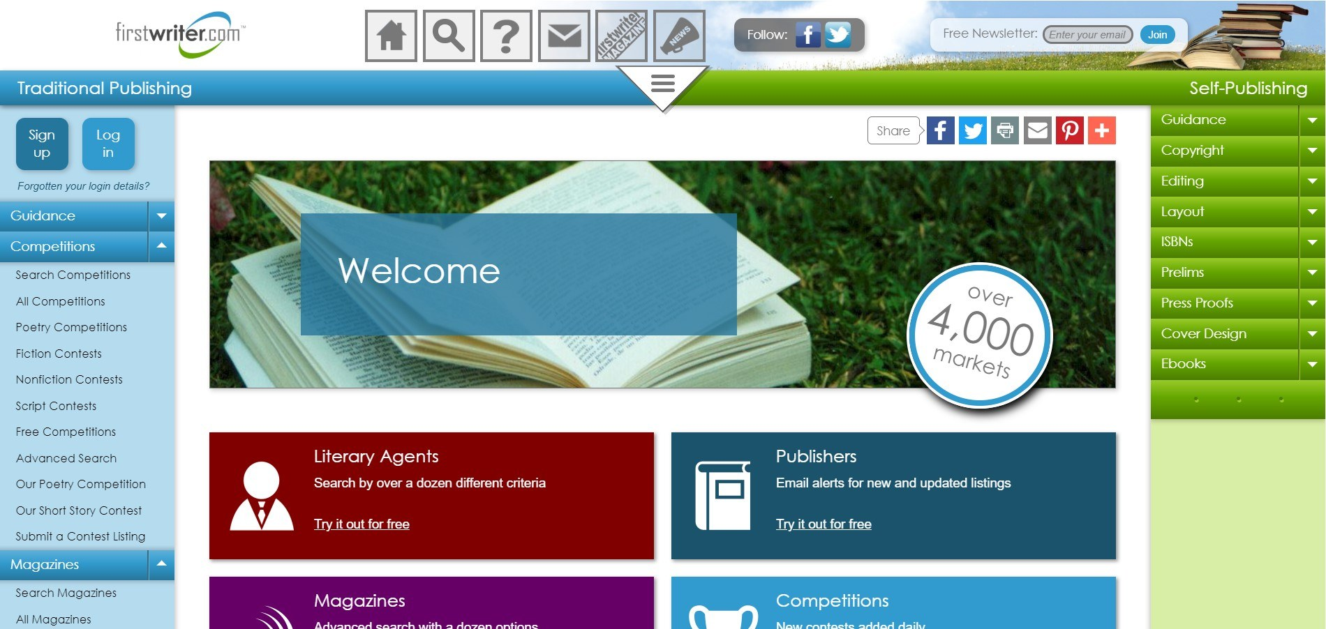 This screenshot is colorful, with a photo of an open book on green grass and text boxes in teal, turquoise, purple and maroon.