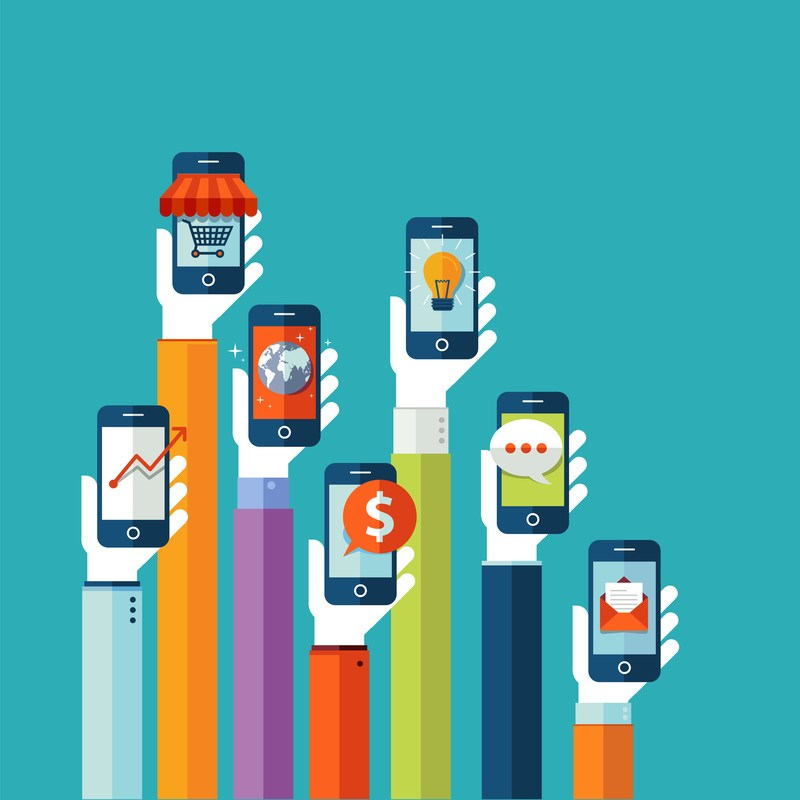 many hands holding smartphones representing how to make money without a website