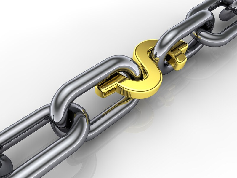chain of links with a dollar sign representing getting paid to post links
