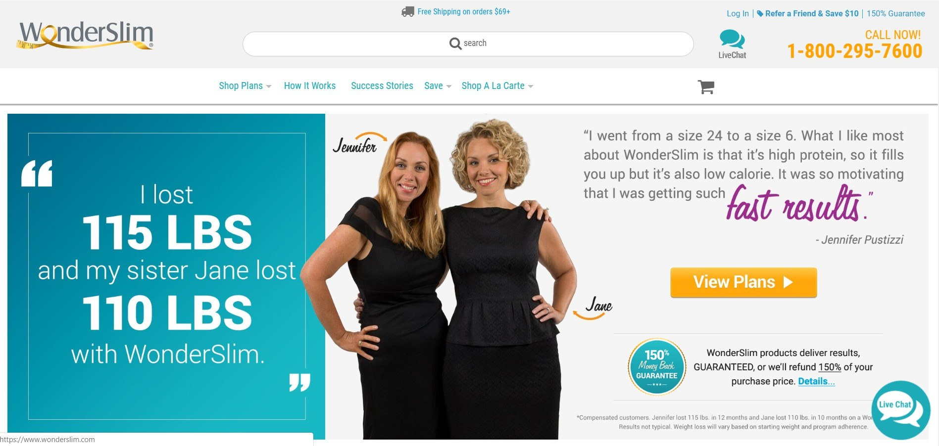 This screenshot includes an image of two sisters wearing black who both lost several pounds using the Wonderslim meal replacements.